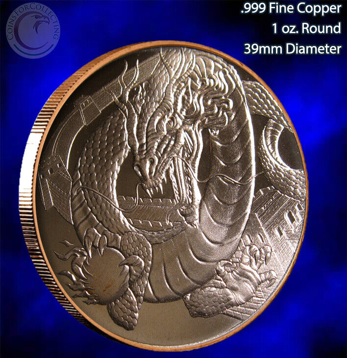 World Of Dragon Set Of 6 1 Oz .999 Copper Rounds - LIMITED 6 Rounds - $56.96