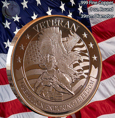 """VETERAN """"Operation Enduring Freedom"""" 1 oz .999 Copper Round Limted and Rare"""