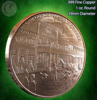 PROSPECTOR 1 Oz .999 Copper Round Back Has Western Town - $2.99