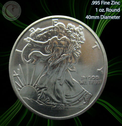 "2011 ""Walking Liberty"" 1oz .995 Zinc Round Limited and Rare"