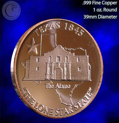 """Texas - Alamo 1845"" 1 oz .999 Copper Round"
