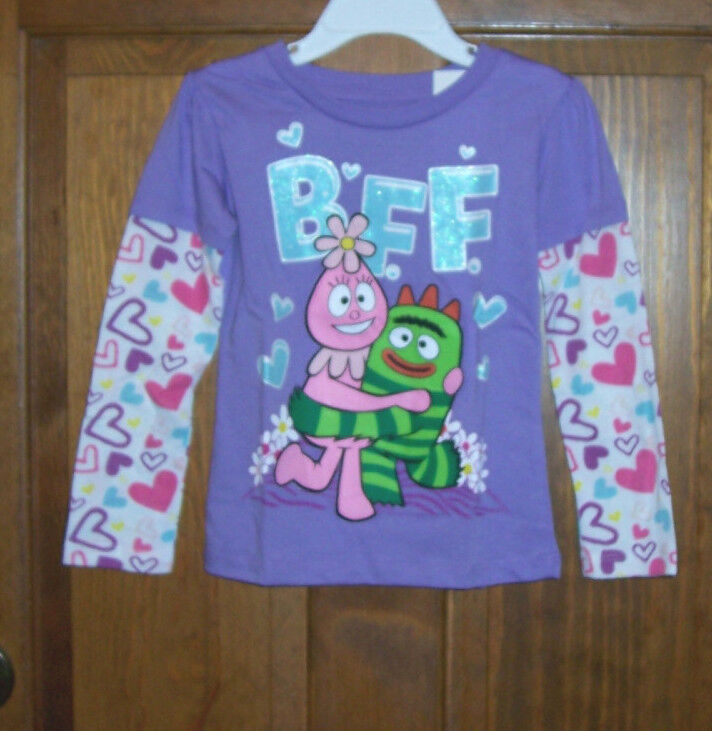 Yo Gabba Gabba Foofa Purple Long Sleeve T Tee Shirt Top Toddler Girls Size 4T