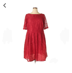 Taylor Brand Red Laced Cocktail Dress