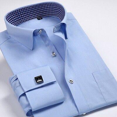 French Cuff Shirt fashion Men's Formal Slim Casual Business Dress Shirts -