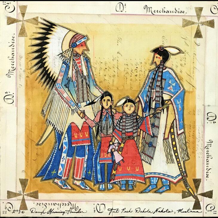 "Family Portrait  ""Tiwahe""| Darryl Growing Thunder |Historical Ledger Paper"