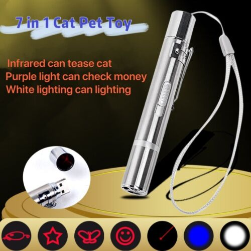 SUPER LASER POINTER USB ~ 7 in 1 Cat Pet Toy Rechargeable Red UV Flashlight New