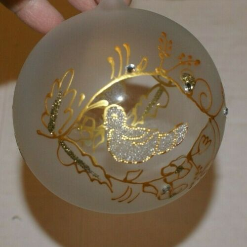 """Czech Republic Blown FROSTED Glass Ornament Gold DOVES CLEAR GLASS 5""""H"""