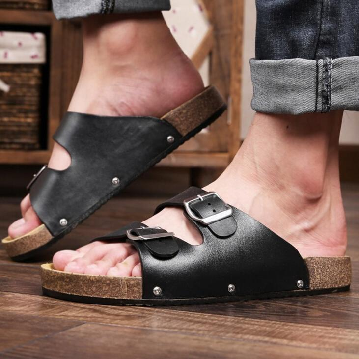 Men Open Toe Leather Flat Sandals Two buckle Thick Bottom Slippers Shoes sy