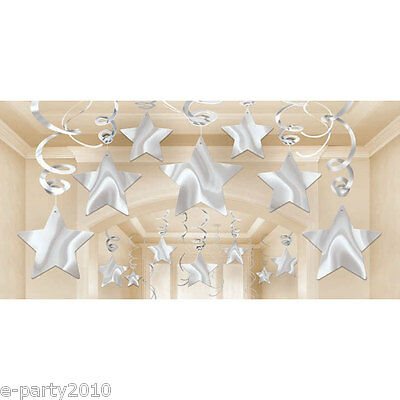 SILVER SHOOTING STARS FOIL SWIRL DECORATIONS (30) ~ Birthday Party Supplies (Silver Stars Decorations)