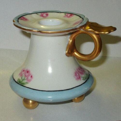 Antique Porcelain Vienna Austria HP Candle Holder Chamberstick