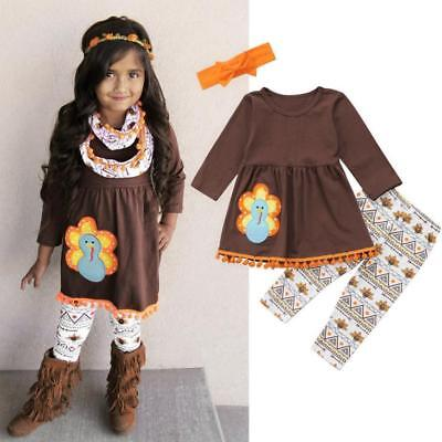 Thanksgiving Toddler Kids Baby Girl Outfits Clothes Dress Tops+Pants Outfit Set (Baby Thanksgiving Outfit)