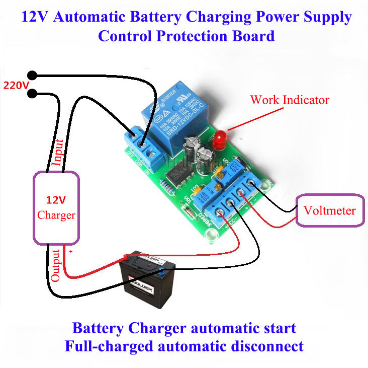 12V Battery Automatic Charging Controller Module Protection Board Relay Switch