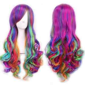 Rainbow Multi Color Wig Lolita Long Big Wavy Curly Spiral Hair Cosplay Wig 70cm