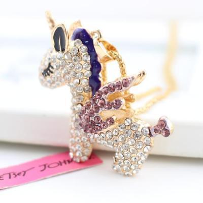 Enamel Jewelry Present Betsey Johnson Pendant Fly Horses Rhinestone Necklace