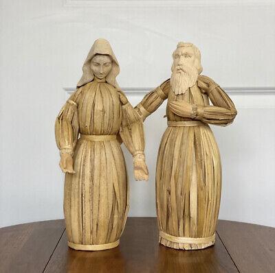 Vtg Primitive Thanksgiving Folk Art Pilgrim Man Woman Cornhusk Dolls Table Decor