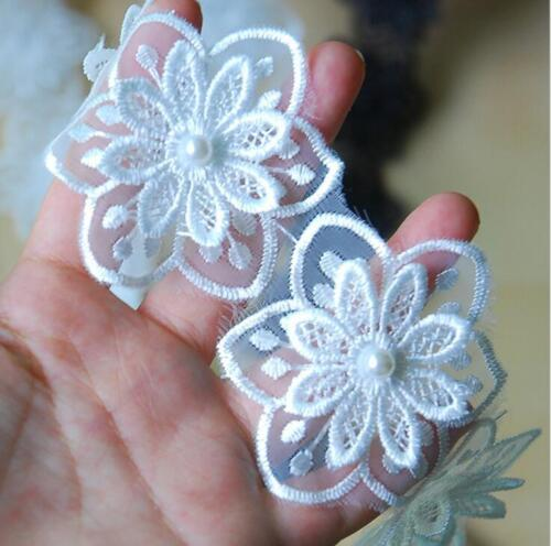 2 Yards Organza Double layer Flowers Beading Lace Trim clothing accesories