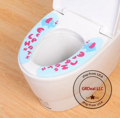 USA Toilet seat lid cover Cute pads Bathroom Mat health Easy sticky Cartoon - Cute Easy Cartoons