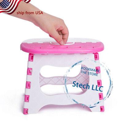 Plastic Folding Step Home Kitchen Stool Black Kid Chair Bath