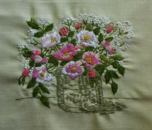 Pink White Flowers in Jar Paragon Crewel Embroidery Completed Finished
