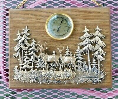 VINTAGE MID CENTURY MCM FOREST DEER PINE TREE SCENE MOUNTED THERMOMETER
