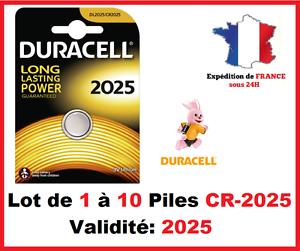 Lot-de-1-a-10-Pile-CR-2025-DL-2025-DURACELL-bouton-Lithium-3V-DLC-2025