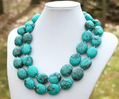 Natural turquoise necklace oval beads double row Bohemia - Beads Necklace Natural Necklace