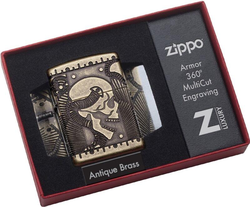 Zippo Choice Catalog Steampunk Skull Armor Antique Brass MultiCut 29268 NEW L@@K