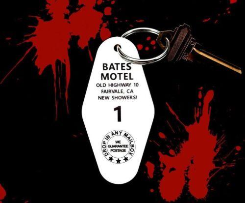 Creepy BATES MOTEL horror movie PROP KEY TAG, Norman Bates, Psycho fob, keychain