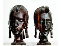 Vintage (1960's) Very Rare ... Pair of African Art Wood Carving Head Bust Woman Female Ebony Tribal