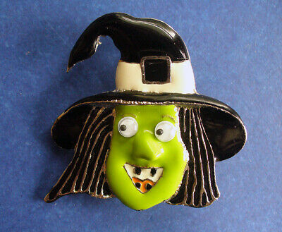 Googly Eyes Halloween Face (AAI PIN Halloween Vintage WITCH Googly Eyes ENAMEL Green Face Holiday)