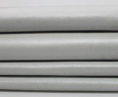 OFF WHITE PEARLIZED soft Italian Lambskin Sheep leather skin 6sqf 0.7mm #A4453 ()