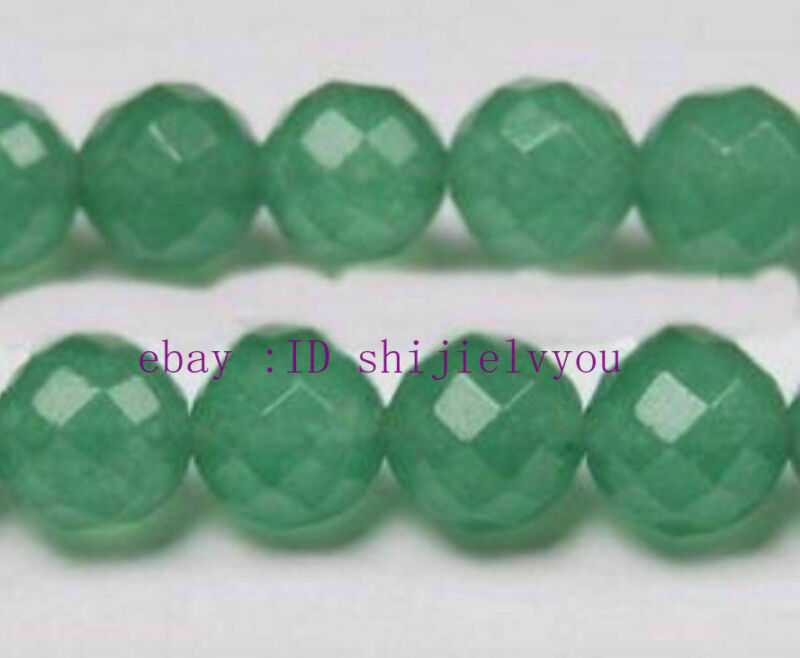 """Beautiful 12mm  Green Emerald Faceted Round Loose Beads Gemstone 15"""""""
