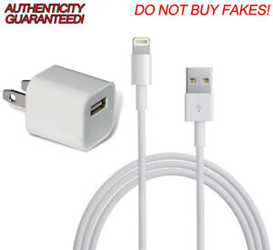 Original Apple Wall Charger Adapter/Plug & Lightning Data Cable