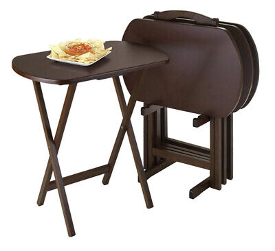 TV Tray Set With Stand Set Of 4 Laptop Computer Snack Table Top Wood 5 Pc ()