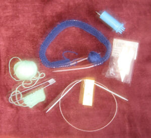 5 KNITTING ITEMS, 2 embroidery HOOPS -all/ $5;  SWAG $15;
