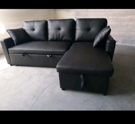 Black Bonded leather Sofabed New condition free local delivery