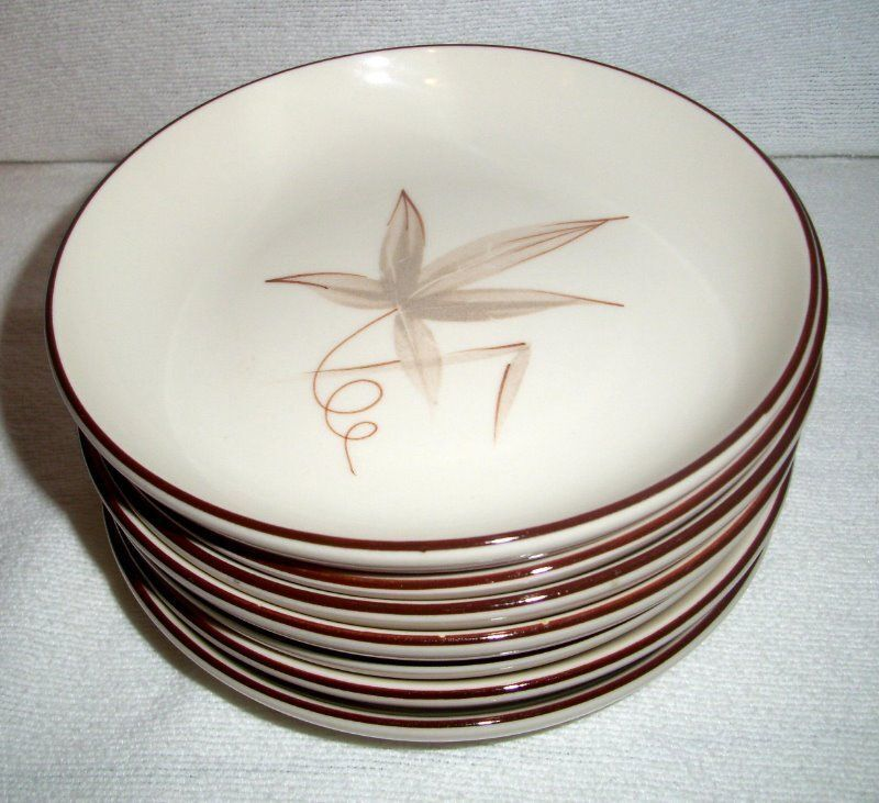 Winfield of California Pottery PASSION FLOWER Porcelain Bread Butter Plates (7)
