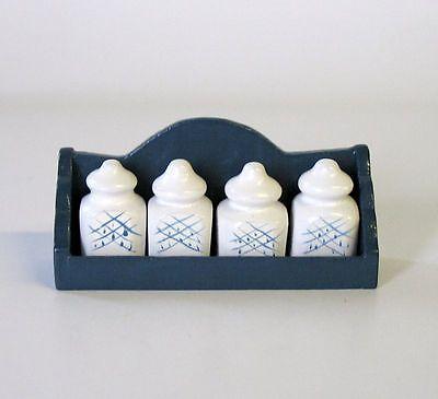 Regal mit Gewürzdosen Holz/Porzellan 1:12  Puppenstube  Puppenküche