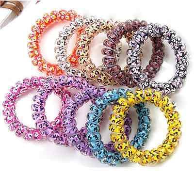 Hair Bands Elastics Bobbles Hair Ties Spiral Slinky Rubber rope Bracelet 2PC H05 - Slinky Hair Ties