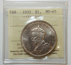 1935 Canadian Silver Dollar MS-65,  ICCS Graded