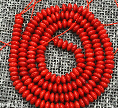 Natural New 2x4mm Red Coral Gems Abacus Loose Beads 15 ""
