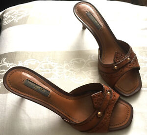 Louis Vuitton Shoes Kitten Heel Sandals Brown All-Leather US 5