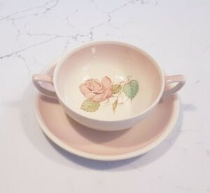 SUSIE COOPER Patricia Rose Pattern (PINK) Handled Soup & Saucer