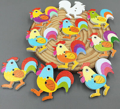 Cartoon rooster chickens Wooden Buttons sewing scrapbooking decoration (Buttons Rooster)