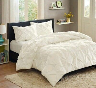 BETTER HOMES & GARDENS WHITE PINTUCK BEDDING DUVET COVER SET