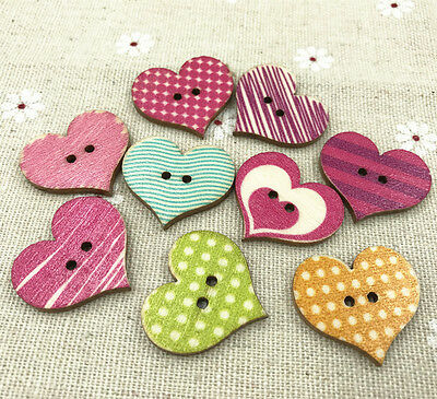- Retro Wooden Sewing Scrapbooking Buttons Heart 2 Holes stripe Dots Pattern 25mm