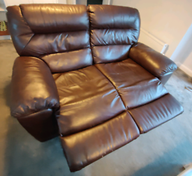 Two and three seater brown leather recliner sofas