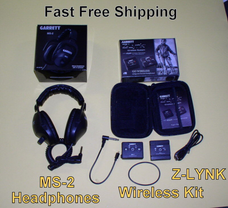 New Garrett MS-2 Headphones * Z-Lynk Wireless Kit use with your Metal Detector
