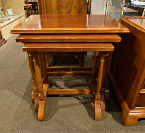 GREAT SET OF 3 VINTAGE YEW WOOD NESTING TABLES AT CHARMAINE'S