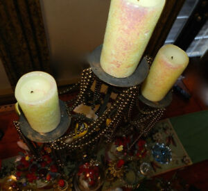 67 Wedding Candles Embossed Flitter+Triple Iron Candelabras